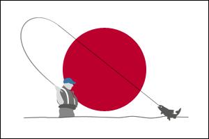Tenkara Fischer vor der aufgehenden japanischen Sonne